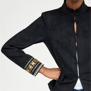 ZARA Embroidered Faux Suede Jacket